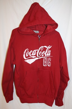 Very nice Hooded Sweatshirt, Coca-Cola, Red With Aged Look Coca-Cola